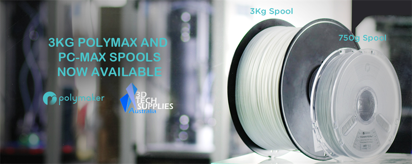 PolyMax PLA and PC-Max PolyCarbonate now available in 3kg spools!